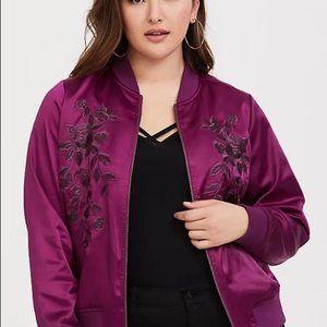 Torrid Jacket Satin Bomber Floral Embroidery